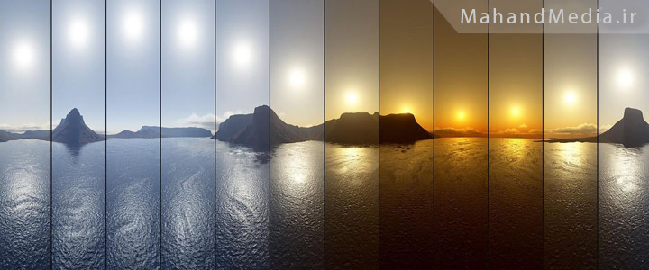تایم لپس غروب آفتاب در عکس های مختلف
